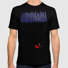 Alone in the forest Black MEDIUM Mens Fitted Tee
