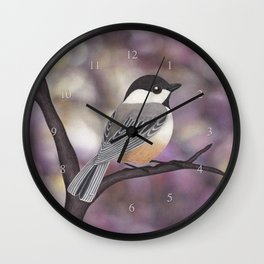 Sasha the black-capped chickadee Wall Clock