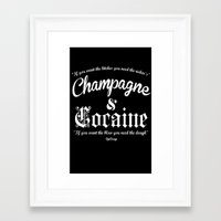 cocaine Framed Art Prints featuring Champagne & Cocaine by RooDesign