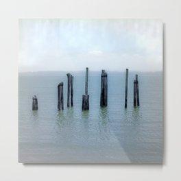 Tokeland, Willapa Bay, Washington Pier, River Pilings Metal Print