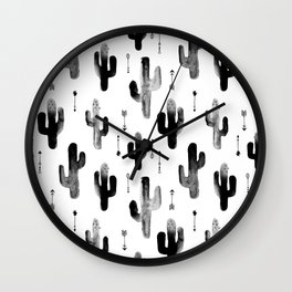 Black and white ink cactus garden indian summer Wall Clock