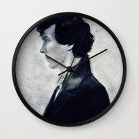 sherlock Wall Clocks featuring Sherlock by LindaMarieAnson