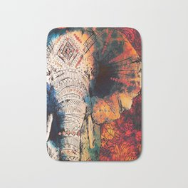Indian Sketched Elephant Red Orange Bath Mat