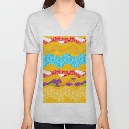 Summer bright pattern  scales simple Nature background with Chinese wave circle pattern Unisex V-Neck