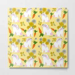 Rabbit Food Bunnies Carrots Dandelions Metal Print