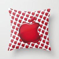 apple Throw Pillows featuring Apple by JT Digital Art