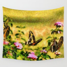 Three Giant Swallowtails - Monet Style Wall Tapestry