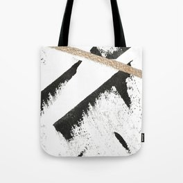 Sassy: a minimal abstract mixed-media piece in black, white, and gold by Alyssa Hamilton Art Tote Bag