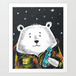 Little Bear The Skater Art Print Art Print