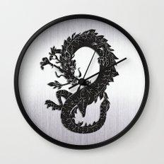 Black Oriental Dragon on Silver Wall Clock