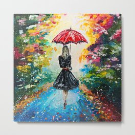 GIRL WITH A RED UMBRELLA Metal Print