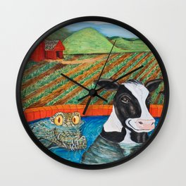 Cows in a Hot Tub Wall Clock