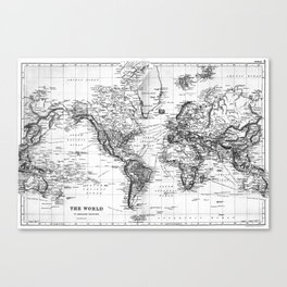 Black and White World Map (1892) Canvas Print