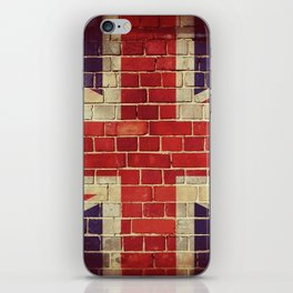 Vintage UK flag on a brick wall iPhone Skin