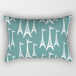 Mid Century Modern Giraffe Pattern 234 Teal Rectangular Pillow