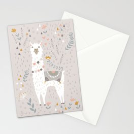 Sweet Llama on Gray Stationery Cards