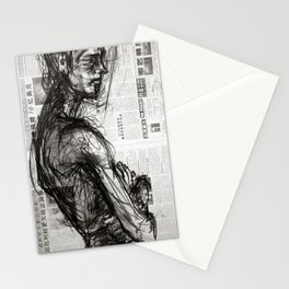 Waiting - Charcoal on Newspaper Figure Drawing Stationery Cards