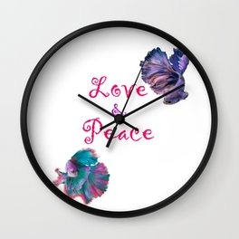 Love and Peace Fighter Fish Wall Clock