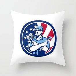 American Air-Con Serviceman USA Flag Icon Throw Pillow