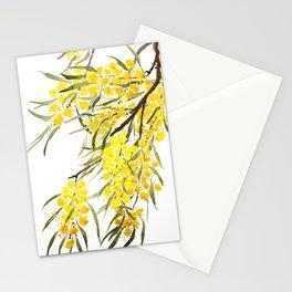 Godlen wattle flower watercolor Stationery Cards