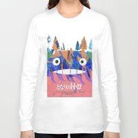 hayao miyazaki Long Sleeve T-shirts featuring Poster Toto ro (Miyazaki) by Mariano F. Hernandez