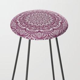Wine Maroon Ethnic Detailed Textured Mandala Counter Stool