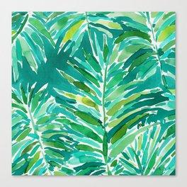 WILD JUNGLE Green Tropical Palm Canvas Print
