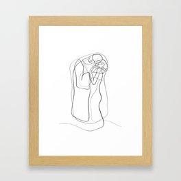 The Kiss by Gustav Klimt - minimal one line drawing Framed Art Print