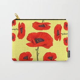 POPPY PIZZA RED-ORANGE  FLORAL DESIGN ON YELLOW ART Carry-All Pouch