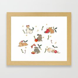 Bunnies and gifts Framed Art Print
