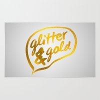 gold glitter Area & Throw Rugs featuring Glitter and Gold by Berberism Lifestyle