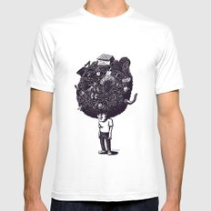 Bad Hair Day MEDIUM White Mens Fitted Tee