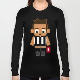 Super cute sports stars - Black and White Aussie Footy Long Sleeve T-shirt