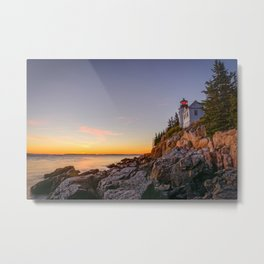 Acadia Lighthouse Sunset Maine Coast National Park Landscape Metal Print
