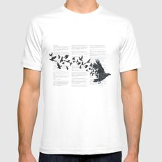 Vintage Style Print with Poem Text Edgar Alan Poe: Edgar Alan Crow MEDIUM White Mens Fitted Tee