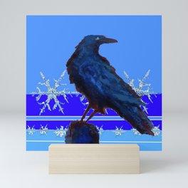 BLUE CROW WINTER SNOWFLAKE ART Mini Art Print