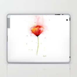 Red Poppy Flower Watercolor Abstract Poppies Floral Laptop & iPad Skin