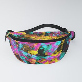 Artsy Modern Neon Colors Black Abstract Paint Art Fanny Pack
