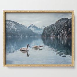 Swans on the Apsee lake, Bavrian alps Serving Tray