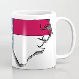 North Carolina Map with North Carolinian Flag Coffee Mug