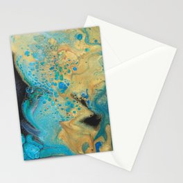 Fluid nature - Golden Sands -  Acrylic Pour Art Stationery Cards