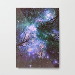 Black Trees Purple Green Space Metal Print