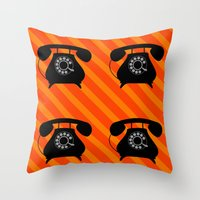 telephone Throw Pillows featuring telephone by vitamin