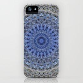 Gray and blue mandala iPhone Case