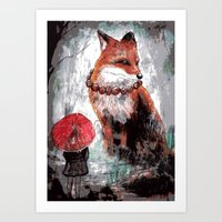 kitsune Art Prints featuring Kitsune by Carrion House