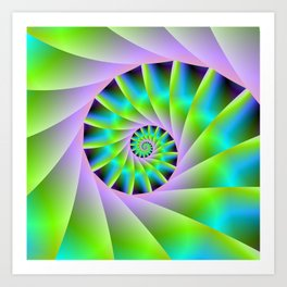 Turquoise Lilac and Green Spiral Art Print
