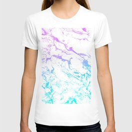 White marble purple blue turquoise ombre watercolor mermaid pattern T-shirt