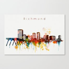 Watercolor Richmond Virginia Skyline Canvas Print