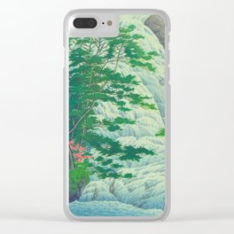 Kawase Hasui, Waterfall, Japanese Woodblock Print Ukiyo-e, Shin-hanga, Landscape Clear iPhone Case