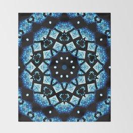 Blue Black Mosaic Kaleidoscope Mandala Throw Blanket